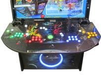 933 4-player, yellow buttons, green buttons, blue buttons, red buttons, lighted, green trackball, black trim, tron joystick, spinner, starship enterprise
