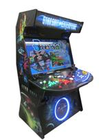 936 4-player, yellow buttons, green buttons, blue buttons, red buttons, lighted, red trackball, black trim, tron joystick, spinner, starship enterprise