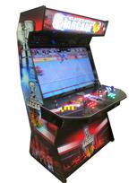 943 4-player, yellow buttons, green buttons, blue buttons, red buttons, lighted, black trackball, black trim, tron joystick, black hawks arcade
