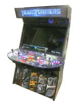 958 4-player, blue buttons, red buttons, lighted, red trackball, black trim, tron joystick, spinner, transformers