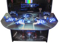 964 4-player, blue buttons, lighted, blue trackball, blue trim, black trim, tron joystick, spinner, okuley arcade, tron