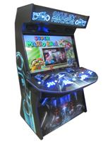 965 4-player, blue buttons, lighted, blue trackball, blue trim, black trim, tron joystick, spinner, okuley arcade, tron