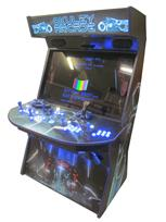 966 4-player, blue buttons, lighted, blue trackball, blue trim, black trim, tron joystick, spinner, okuley arcade, tron