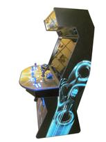 967 4-player, blue buttons, lighted, blue trackball, blue trim, black trim, tron joystick, spinner, okuley arcade, tron