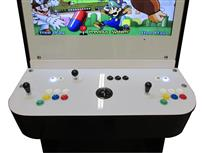 1199 2-player, yellow buttons, green buttons, blue buttons, red buttons, white buttons, black trackball, black trim, dr mario