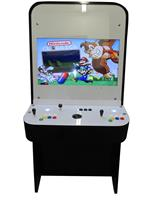 1203 2-player, yellow buttons, green buttons, blue buttons, red buttons, black trackball, red trim, black trim, dr mario