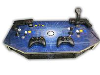 477 2-player, blue, starburst, white trackball, white buttons, yellow buttons, purple buttons, push pull spinner
