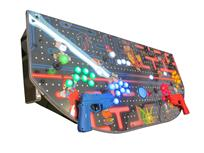 683 4-player, yellow buttons, green buttons, blue buttons, red buttons, lighted, blue trackball, black trim, silver trim, classic arcades