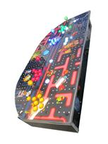 685 4-player, yellow buttons, green buttons, blue buttons, red buttons, lighted, blue trackball, black trim, silver trim, classic arcades