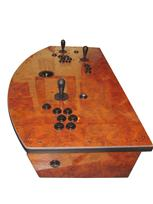713 2-player, black buttons, black trackball, orange trim, wood grain
