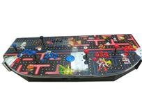 835 4-player, blue buttons, red buttons, blue trackball, silver trim, nintendo classics, pac man layout