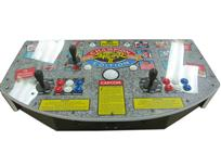 838 2-player, blue buttons, red buttons, white buttons, white trackball, black trim, white trim, street fighter 2, champion edition