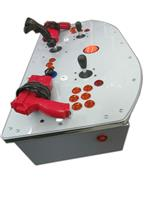 504 2-player, gray, back to the future, tron joystick, orange trackball, lighted, orange buttons